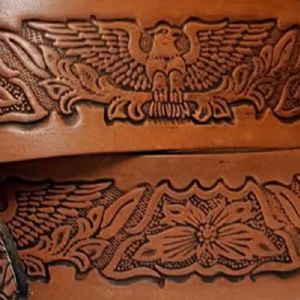 "Eagle Floral Embossed Full Grain Leather Belt . 1½"" (38mm) Wide. Design: EM049"